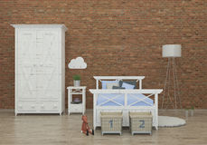 Scherza l'immagine interna della rappresentazione 3d della camera da letto Immagine Stock Libera da Diritti