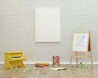 Scherza l'immagine interna della rappresentazione 3d della stanza del gioco Fotografia Stock Libera da Diritti