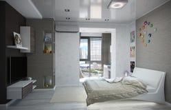 Scherza l'interior design della camera da letto, 3D rendono Fotografia Stock