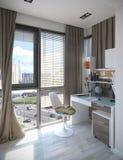 Scherza l'interior design della camera da letto, 3D rendono Immagine Stock