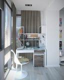 Scherza l'interior design della camera da letto, 3D rendono Immagini Stock Libere da Diritti