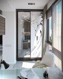 Scherza l'interior design della camera da letto, 3D rendono Fotografie Stock Libere da Diritti