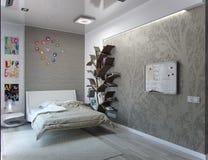 Scherza l'interior design della camera da letto, la rappresentazione 3D Fotografie Stock Libere da Diritti