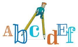 Scherza l'istruzione che cammina sui trampoli della matita fra le lettere Fotografie Stock Libere da Diritti