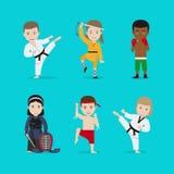 Scherza le icone di vettore di arti marziali illustrazione di stock