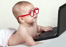 Scherzen Sie in den Gläsern, welche die Laptopanzeige betrachten lizenzfreie stockfotos