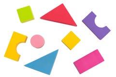Scherzen Sie die Draufsicht der Spielzeuggeometrie, die auf weißem Hintergrund, Kind oder c lokalisiert wird Stockfotografie