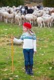 Scherzen Sie die Mädchenschäferin, die mit Schafherde und Stock glücklich ist Lizenzfreies Stockfoto