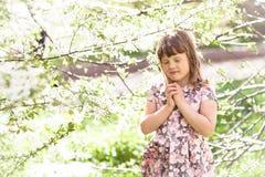 Scherzen Sie Mädchen nahe Baum mit Frühlingsblumen, Sonnenschein Lizenzfreies Stockbild