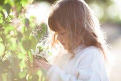 Scherzen Sie Mädchen nahe Baum mit Frühlingsblumen, Sonnenschein Lizenzfreie Stockfotografie