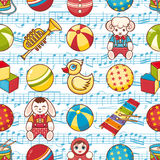 Scherzen Sie nahtloses Muster des Spielzeugs Vektorbild, Abbildung Lizenzfreie Stockbilder