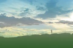scherzen Sie Schattenbild, Momente der Freude des Kindes Suchen nach Zukunft, O Lizenzfreie Stockbilder