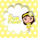 Scherzen Sie T-Shirt Hintergrundkarikatur mit nettem Mädchen auf dem Blumenrahmen-Tupfenhintergrund, der für Mädchent-shirt Hinte Stockfoto