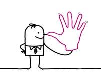 Scherzender Geschäftsmann mit der großen Hand Stockfotos