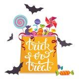 Scherzetto o dolcetto Borsa in pieno delle caramelle Manifesto di vettore di Halloween Fotografie Stock Libere da Diritti