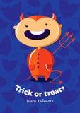 Scherzetto o dolcetto del manifesto di vettore di Halloween con il diavolo su fondo senza cuciture Immagini Stock Libere da Diritti
