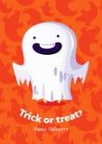 Scherzetto o dolcetto del manifesto di vettore di Halloween con il fantasma su fondo senza cuciture Immagine Stock