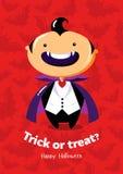 Scherzetto o dolcetto del manifesto di vettore di Halloween con il vampiro su fondo senza cuciture Fotografie Stock