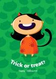 Scherzetto o dolcetto del manifesto di vettore di Halloween con la ragazza del gatto su fondo senza cuciture Fotografia Stock Libera da Diritti