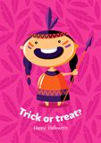 Scherzetto o dolcetto del manifesto di vettore di Halloween con la ragazza indiana rossa su fondo senza cuciture Fotografia Stock