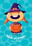 Scherzetto o dolcetto del manifesto di vettore di Halloween con la strega su fondo senza cuciture Fotografia Stock Libera da Diritti