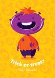 Scherzetto o dolcetto del manifesto di vettore di Halloween con lo zombie su fondo senza cuciture Fotografie Stock Libere da Diritti