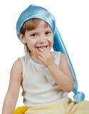 Scherzi in cappello blu di sonno isolato su bianco Immagine Stock