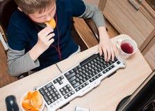 Scherzi il cibo delle patatine fritte e praticare il surfing su Internet o il gioco del vid immagini stock libere da diritti