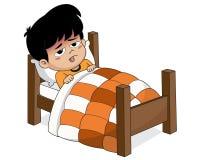 Scherzi il malato con febbre alta Poiché la temperatura del clima illustrazione di stock