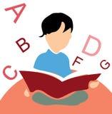 Scherzi la lettura del libro, priorità bassa bianca con l'alfabeto Fotografia Stock