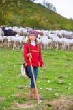 Scherzi la pastora della ragazza soddisfatta della moltitudine di pecore e di bastone Fotografie Stock Libere da Diritti