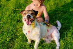 Scherzi la pittura con le dita sul cane di animale domestico domestico felice Immagini Stock