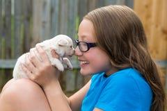 Scherzi la ragazza con il gioco della chihuahua dell'animale domestico del cucciolo felice Fotografie Stock