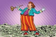 Scherzo del pagliaccio dei soldi di concetto di affari Immagini Stock