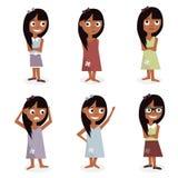 Scherzt Charakterkarikatur Mädchencliqueillustration lokalisiert auf weißem Hintergrund Stockfoto