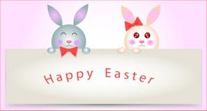 Scherzt die Kaninchen, die Zeichen grüßen Lizenzfreies Stockfoto