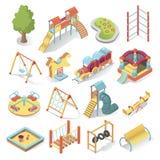 Scherzt helle Ausrüstung des Spielplatzes, isometrischen Artsatz Stockfoto