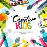 Scherzt Kunst, Bildung, Kreativitätsklassenkonzept Vector Fahne, Plakathintergrund mit Kalligraphie, Bleistift, Bürste, Farben