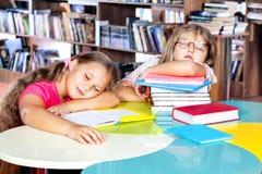 Scherzt schlafendes in einer Bibliothek Lizenzfreie Stockfotos