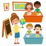 Scherzt Schulgeographie-Lektionsillustration Lizenzfreie Stockfotos