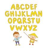 Scherzt Schulkunstjungen, ABC, Alphabet, aducation, Stockbild