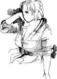 Schets aan het portret van meisje Stock Afbeeldingen