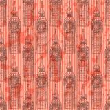 Schets Big Ben, vector naadloos patroon Stock Fotografie
