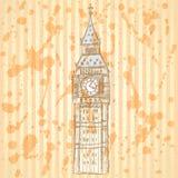 Schets Big Ben, vectorachtergrond eps 10 Stock Foto