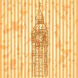 Schets Big Ben, vectorachtergrond eps 10 Royalty-vrije Stock Afbeelding