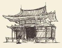 Schets Chine Japan Landmark Vintage Illustration Royalty-vrije Stock Foto