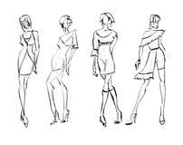 schets De meisjes van de manier Royalty-vrije Stock Foto's