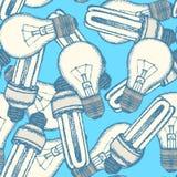 Schets gloeilampen in uitstekende stijl stock illustratie