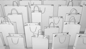 Schets het winkelen zakken het 3d teruggeven Stock Foto's