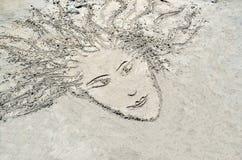 Schets in het zand stock fotografie